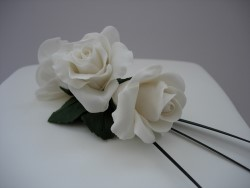 White Sugarcraft Roses Close Up